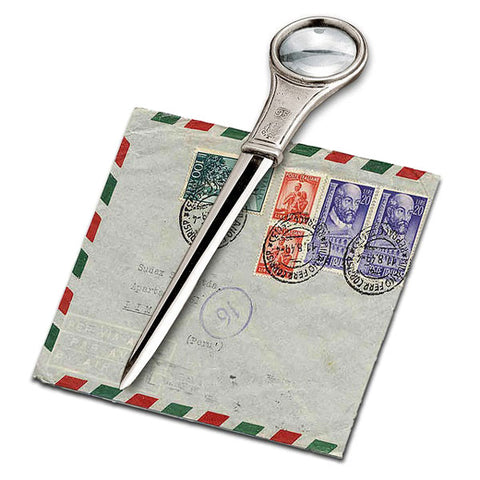 Bacone Letter Opener & Magnifying Glass - 16.5 cm - Handcrafted in Italy - Pewter & Stainless Steel