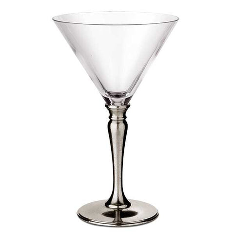 Barolo Martini Glass (Set of 2) - 21 cl - Handcrafted in Italy - Pewter & Crystal