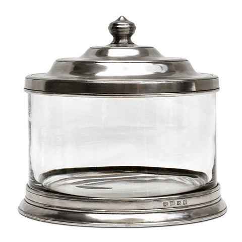Bassano Biscuit Jar - 3.6 L - Handcrafted in Italy - Pewter & Glass