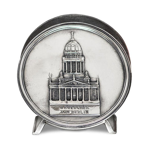 Art Nouveau-Style Berlin Cathedral Napkin Holder - Handcrafted in Italy - Pewter/Britannia Metal