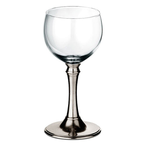 Botticino All-Purpose Wine Glass (Set of 2) - 19 cl - Handcrafted in Italy - Pewter & Glass