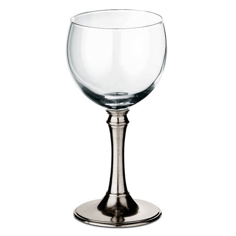 Botticino Water Glass (Set of 2) - 25 cl - Handcrafted in Italy - Pewter & Glass