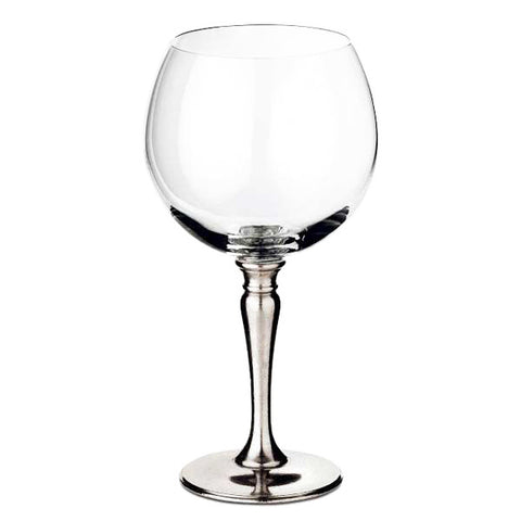 Barolo Balloon Red Wine Glass (Set of 2) - 50 cl - Handcrafted in Italy - Pewter & Crystal