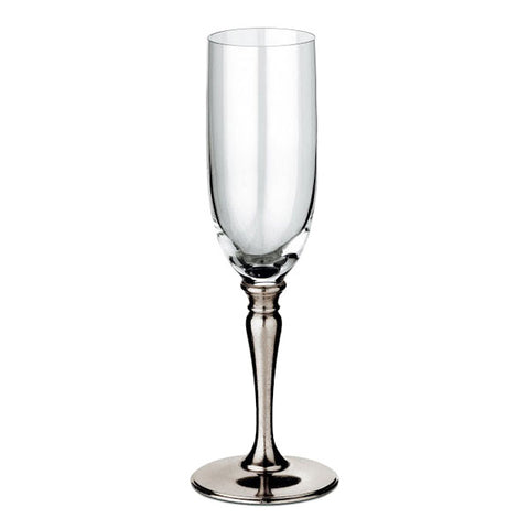 Barolo Champagne Flute (Set of 2) - 19 cl - Handcrafted in Italy - Pewter & Crystal