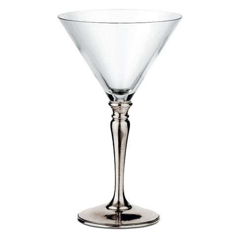 Barolo Martini Glass (Set of 2) - 30 cl - Handcrafted in Italy - Pewter & Crystal