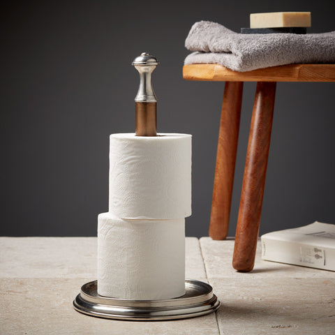 Bassano Toilet Roll Holder - Handcrafted in Italy - Pewter & Brass