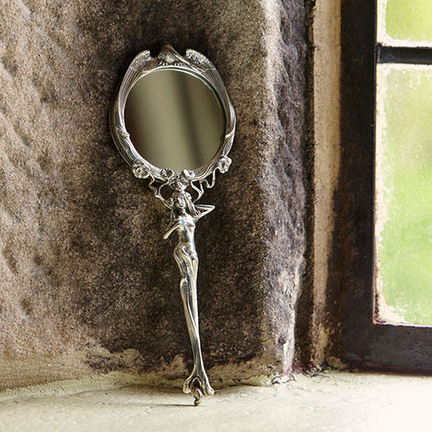 Art Nouveau-Style Ninfa Handbag Mirror - 21 cm Length - Handcrafted in Italy - Pewter/Britannia Metal