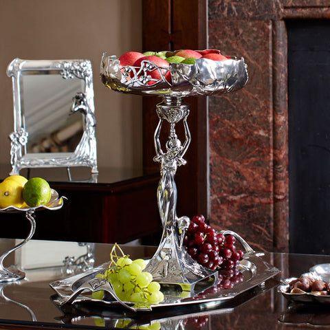 Art Nouveau-Style Fruit Stand - 41.5 cm Height - Handcrafted in Italy - Pewter/Britannia Metal