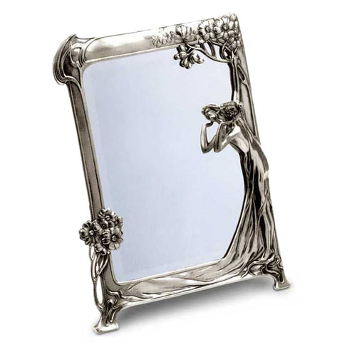 Art Nouveau-Style Donna Dressing Table Vanity Mirror - 36.5 cm x 27 cm - Handcrafted in Italy - Pewter/Britannia Metal