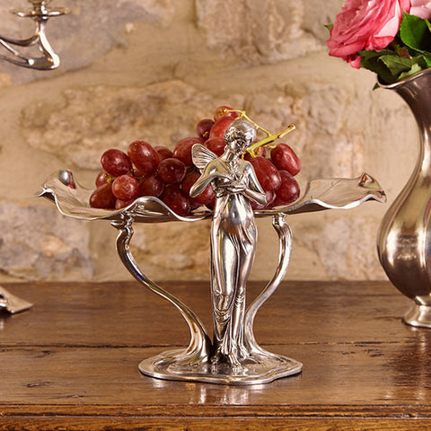Art Nouveau-Style Donna Tray & Jewellery Stand - 21 cm Height - Handcrafted in Italy - Pewter/Britannia Metal