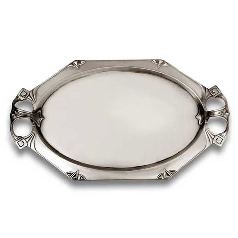 Art Nouveau-Style Secession Waiter Tray - 60 cm x 35 cm - Handcrafted in Italy - Pewter/Britannia Metal