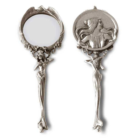 Art Nouveau-Style Handbag Mirror - 21 cm Length - Handcrafted in Italy - Pewter/Britannia Metal
