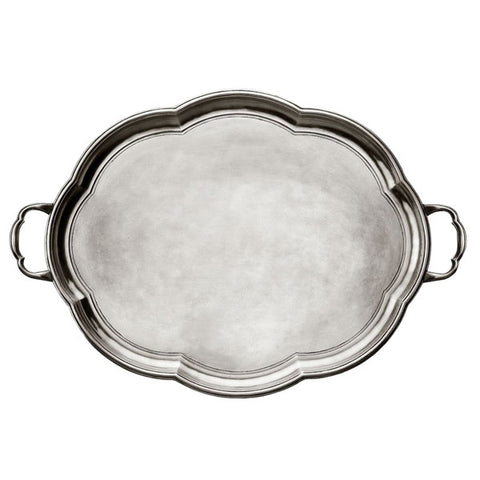 Britannia Tray - 50 cm x 40 cm - Handcrafted in Italy - Pewter