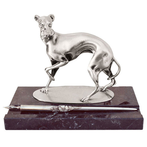 Art Nouveau-Style Cane Greyhound Pen Holder - 19 cm x 10 cm - Handcrafted in Italy - Pewter/Britannia Metal & Marble
