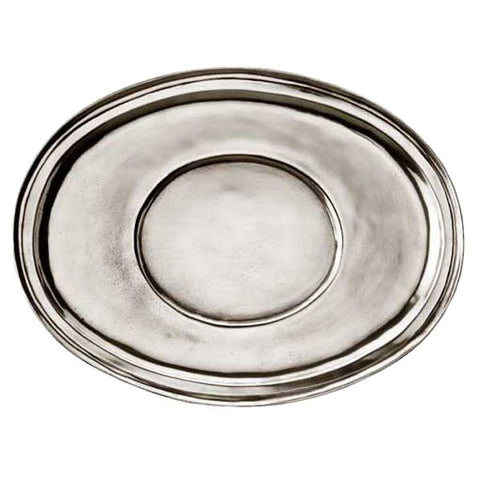 Capua Oval Tray - 34 cm x 25 cm - Handcrafted in Italy - Pewter