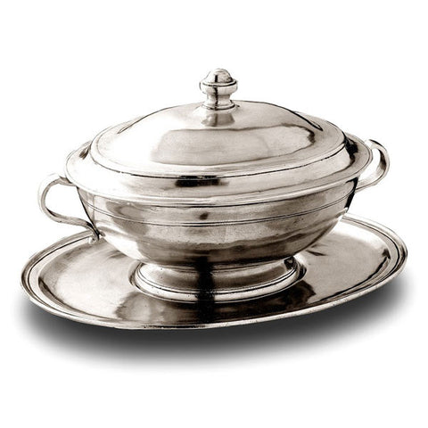 Capua Octagonal Tureen Set - 2.2 L - Handcrafted in Italy - Pewter
