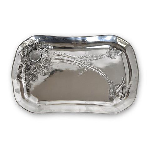 Art Nouveau-Style Cardo Thistle Rectangular Tray - 45 cm - Handcrafted in Italy - Pewter/Britannia Metal