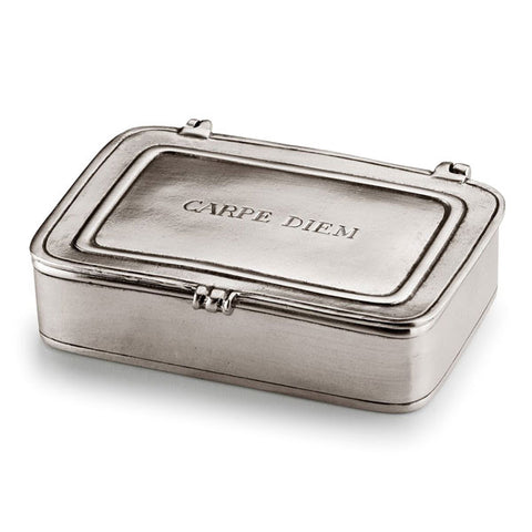 Carpe Diem Lidded Box - 11.5 cm x 8 cm - Handcrafted in Italy - Pewter