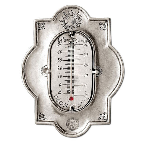 Celsius 3 Scale Thermometer - 20 cm Height - Handcrafted in Italy - Pewter
