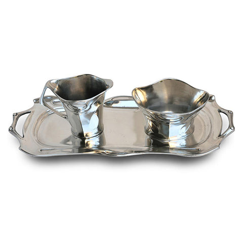 Art Nouveau-Style Celtic Rectangular Tray - 26.5 cm - Handcrafted in Italy - Pewter/Britannia Metal