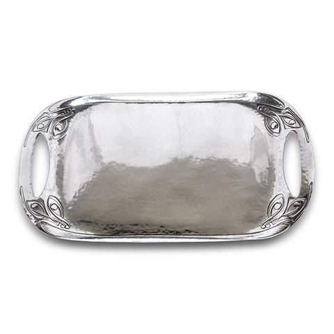 Art Nouveau-Style Celtic Rounded Rectangular Tray - 45.5 cm - Handcrafted in Italy - Pewter/Britannia Metal