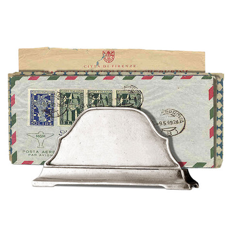 Charta Letter Holder (plain) - 16 cm Width - Handcrafted in Italy - Pewter