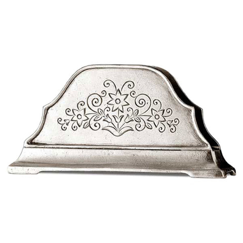 Charta Serviette Holder (embossed) - 16 cm Width - Handcrafted in Italy - Pewter