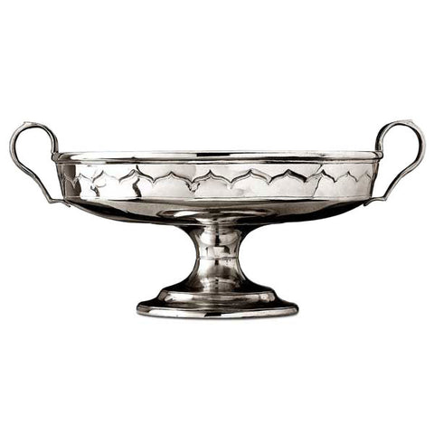Clarissa Footed Bowl (with handles) - Diameter 29.5 cm - Handcrafted in Italy - Pewter