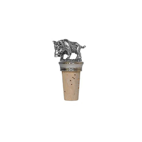 Combo Boar Statuette Bottle Stopper - 7 cm Height - Handcrafted in Italy - Pewter/Britannia Metal & Cork