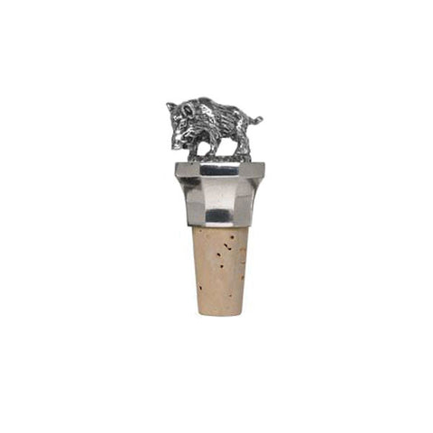Combo Boar Statuette Bottle Stopper - 8.5 cm Height - Handcrafted in Italy - Pewter/Britannia Metal & Cork