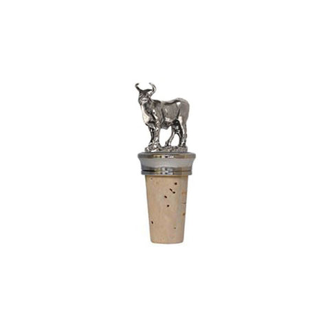 Combo Bull Statuette Bottle Stopper - 8 cm Height - Handcrafted in Italy - Pewter/Britannia Metal & Cork