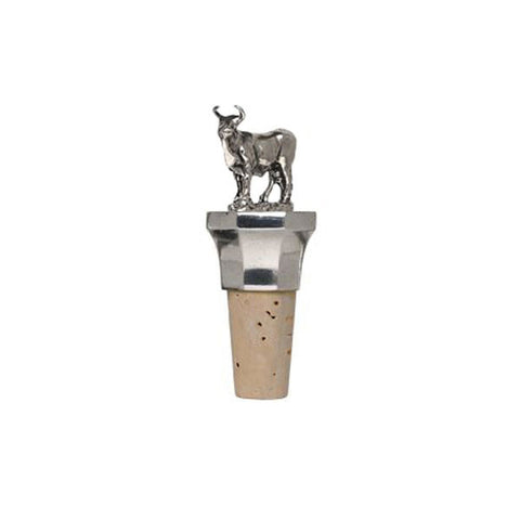 Combo Bull Statuette Bottle Stopper - 9.5 cm Height - Handcrafted in Italy - Pewter/Britannia Metal & Cork