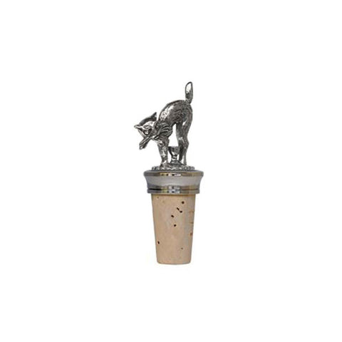 Combo Cat Statuette Bottle Stopper - 8.5 cm Height - Handcrafted in Italy - Pewter/Britannia Metal & Cork