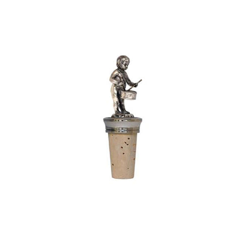 Combo Cherub (with drum) Bottle Stopper - Handcrafted in Italy - Pewter/Britannia Metal & Cork