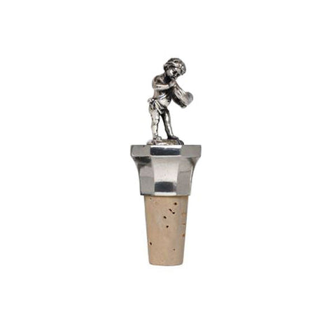 Combo Cherub (with horn) Bottle Stopper - Handcrafted in Italy - Pewter/Britannia Metal & Cork