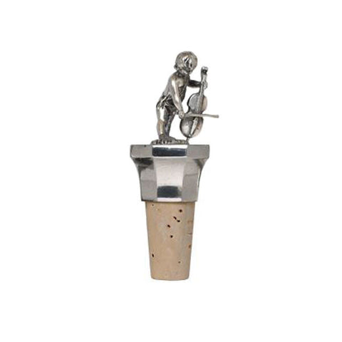 Combo Cherub (with viola) Bottle Stopper - Handcrafted in Italy - Pewter/Britannia Metal & Cork