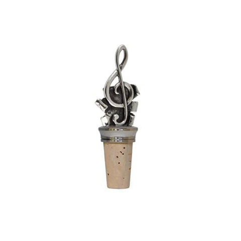Combo Treble Clef Bottle Stopper - 10.5 cm Height - Handcrafted in Italy - Pewter/Britannia Metal & Cork