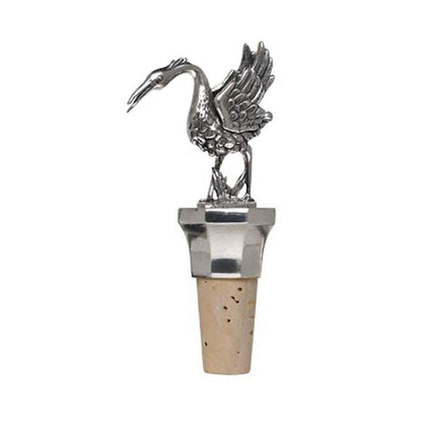 Combo Crane Statuette Bottle Stopper - 12 cm Height - Handcrafted in Italy - Pewter/Britannia Metal & Cork