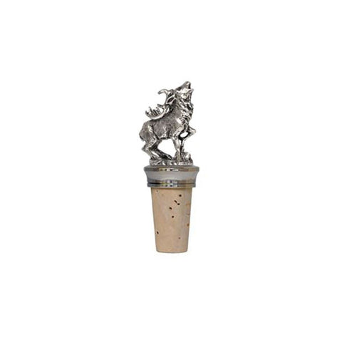 Combo Deer Statuette Bottle Stopper - 8.5 cm Height - Handcrafted in Italy - Pewter/Britannia Metal & Cork