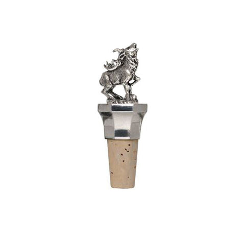 Combo Deer Statuette Bottle Stopper - 10 cm Height - Handcrafted in Italy - Pewter/Britannia Metal & Cork