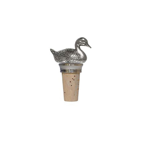 Combo Duck Figurine Bottle Stopper - 7.5 cm Height - Handcrafted in Italy - Pewter/Britannia Metal & Cork