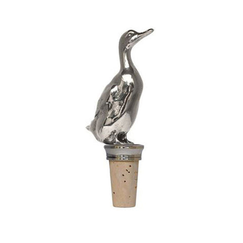 Combo Duck Statuette Bottle Stopper - 12.5 cm Height - Handcrafted in Italy - Pewter/Britannia Metal & Cork