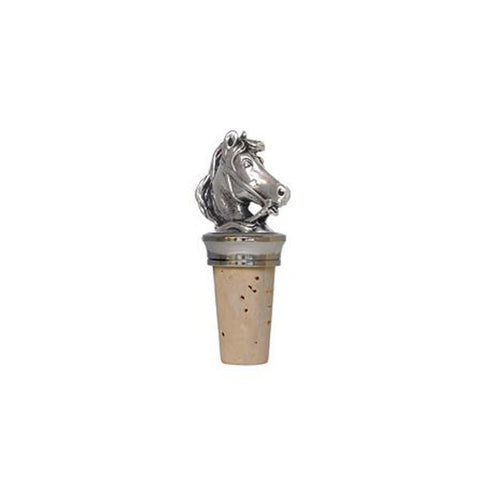 Combo Horse Statuette Bottle Stopper - 8 cm Height - Handcrafted in Italy - Pewter/Britannia Metal & Cork