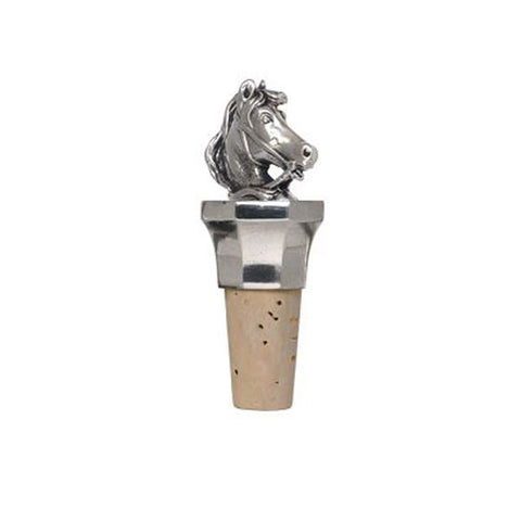 Combo Horse Statuette Bottle Stopper - 9.5 cm Height - Handcrafted in Italy - Pewter/Britannia Metal & Cork