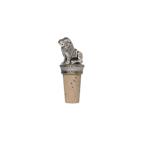 Combo Lion Figurine Bottle Stopper - 7.5 cm Height - Handcrafted in Italy - Pewter/Britannia Metal & Cork