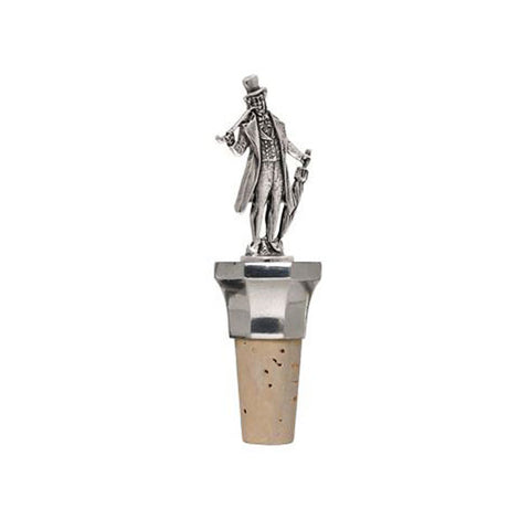 Combo Man (with pipe) Statuette Bottle Stopper - 12 cm Height - Handcrafted in Italy - Pewter/Britannia Metal & Cork