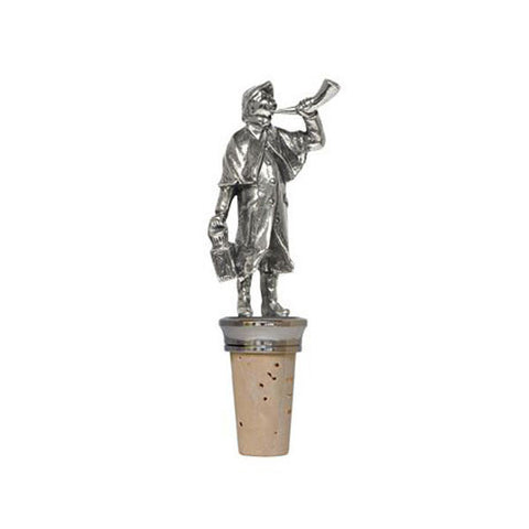 Combo Night Watchman Bottle Stopper - Handcrafted in Italy - Pewter/Britannia Metal & Cork