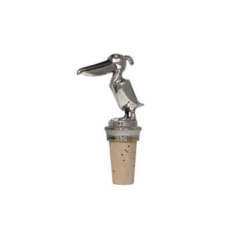 Combo Pelican Statuette Bottle Stopper - 10 cm Height - Handcrafted in Italy - Pewter/Britannia Metal & Cork