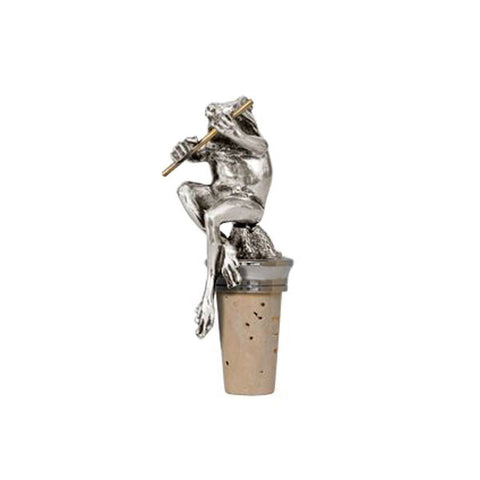 Combo Toad Statuette Bottle Stopper - 11.5 cm Height - Handcrafted in Italy - Pewter/Britannia Metal & Cork