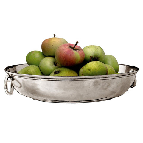 Como Round Bowl (with rings) - 35 cm Diameter - Handcrafted in Italy - Pewter